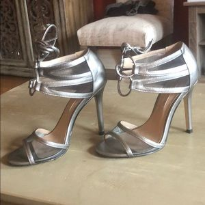 Bcbg max azria pewter tie up mesh front heels